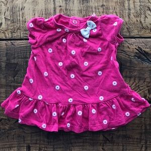 (4 for $5) Baby Girl Pink and White Flower Top 0-3